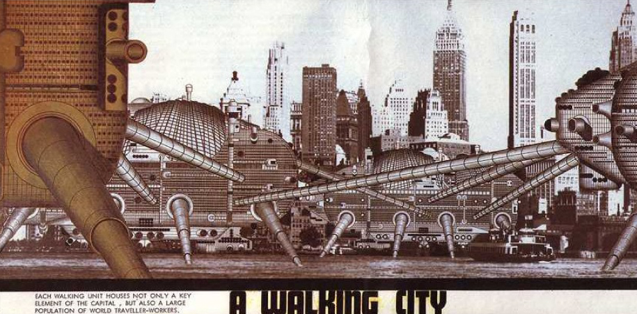 Archigram, Arquitectura, Arquitectura Contemporánea, Ciudad Ideal, Ciudades Inteligentes, Collage, Ilustración, Instant City, Las Ciudades Invisibles, Living Pod, Logplug, Rockplug, Walking City