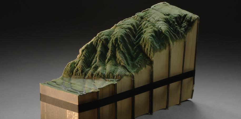 Guy Laramee crea estas asombrosas esculturas a partir de libros. Hermosa metáfora acerca del tiempo. Crítica a la disolución de la cultura en manos del progreso.